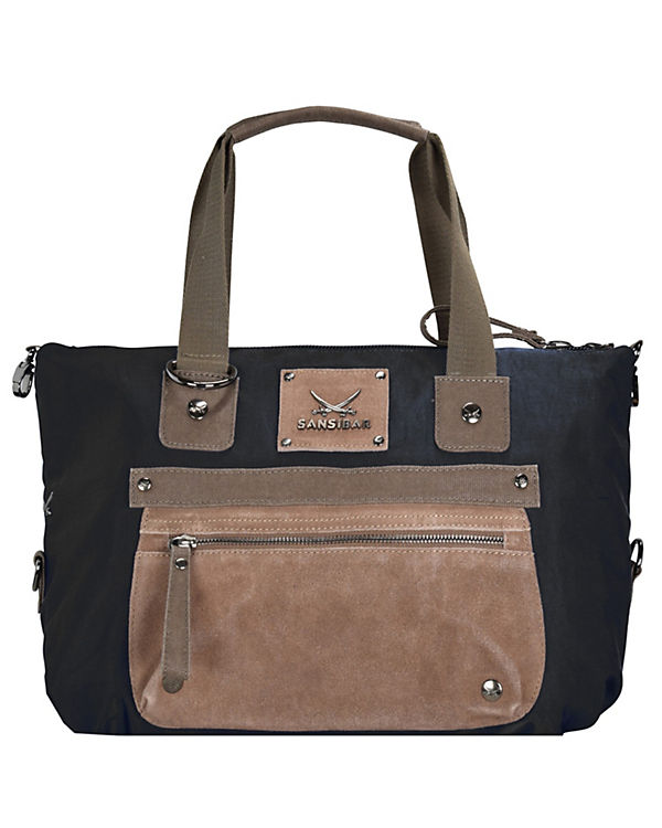 Sansibar Sansibar Colla Handtasche Leder 40 cm schwarz