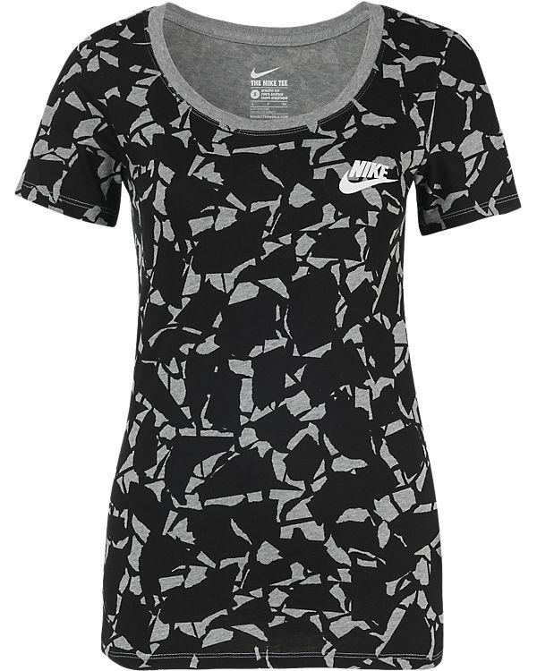 NIKE T-Shirt schwarz/grau