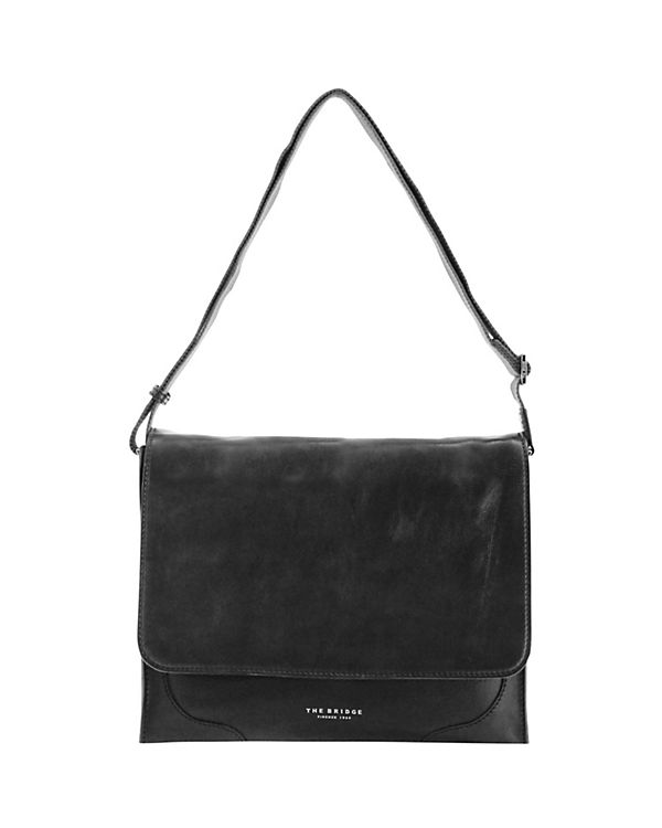 The Bridge The Bridge Raw Uomo Umhängetasche Leder 36 cm Laptopfach schwarz