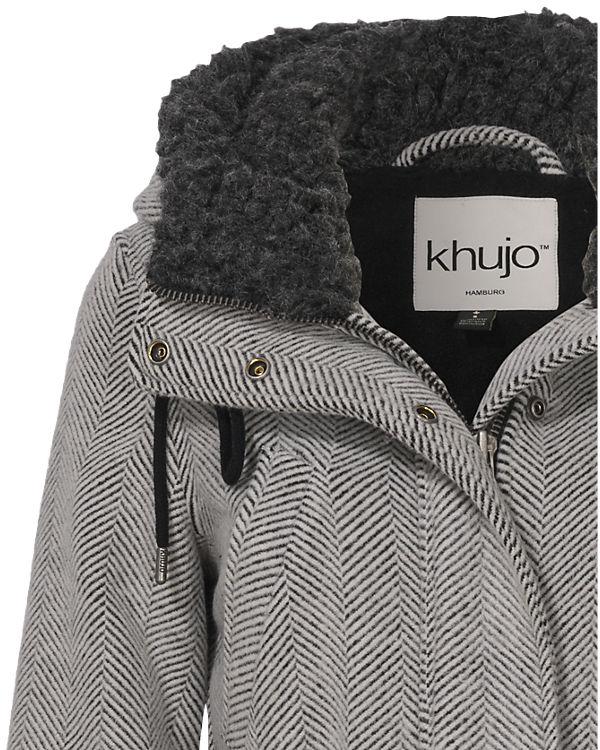 Khujo Wollmantel Ramya schwarz/weiß