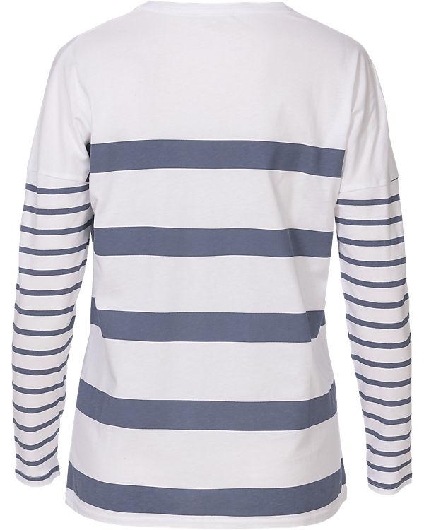 BASEFIELD Langarmshirt blau/weiß