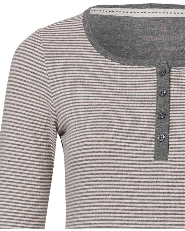 BASEFIELD Schlafshirt weiß/grau