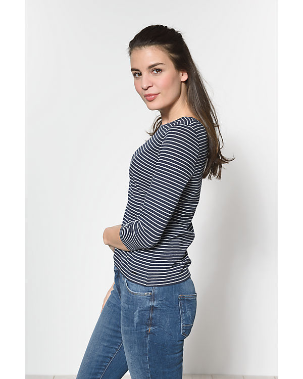 TOM TAILOR Denim 3/4-Arm-Shirt blau/weiß