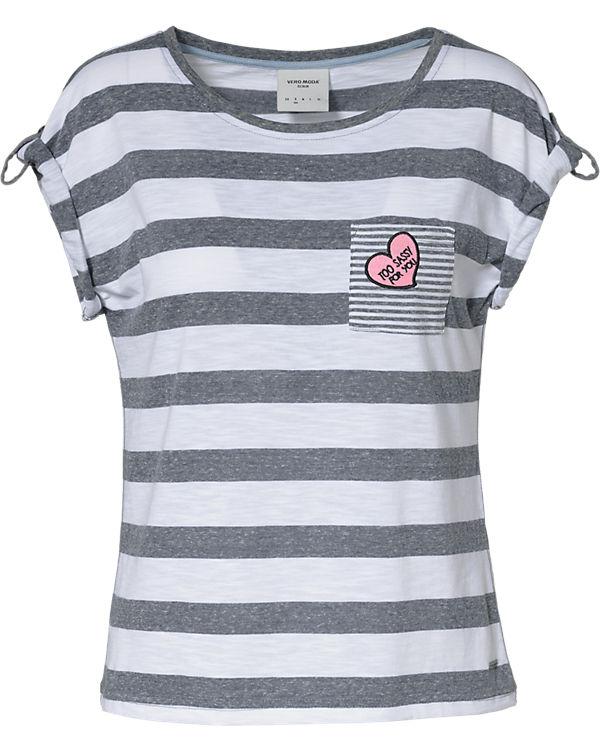 VERO MODA T-Shirt weiß/grau