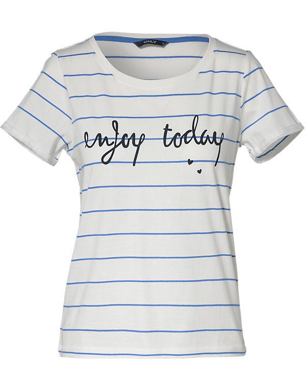 ONLY T-Shirt blau/weiß