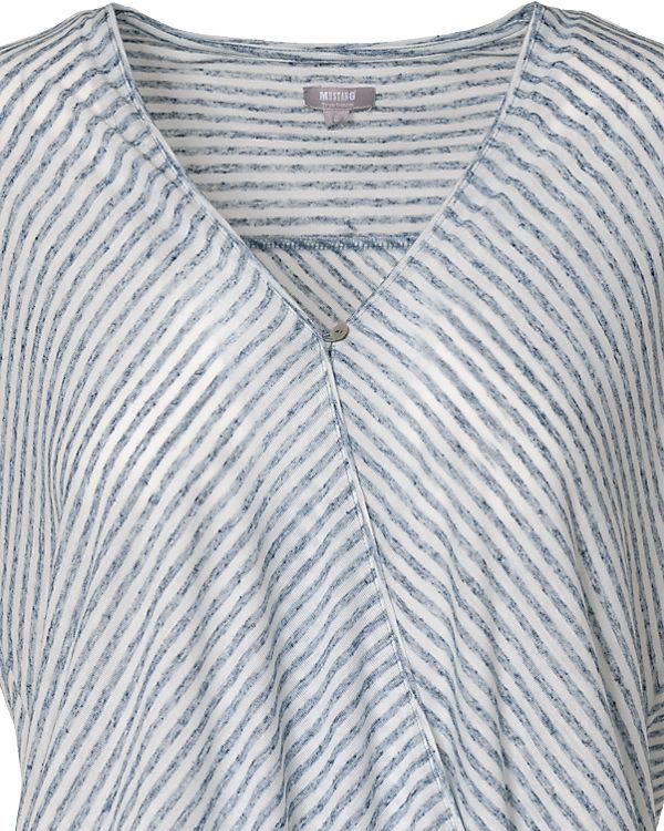 MUSTANG Bluse blau/weiß