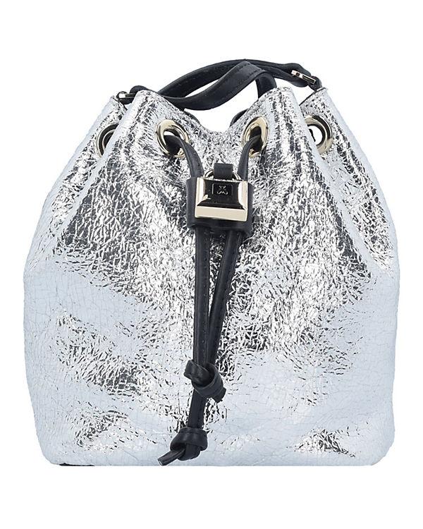 Patrizia Pepe Patrizia Pepe Lock Fly Mini Bag Beuteltasche Leder 15 cm silber