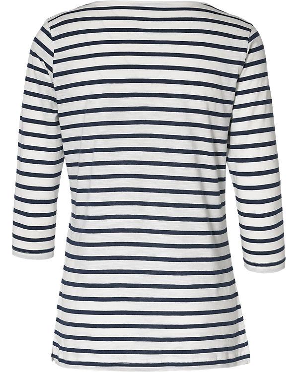 fransa 3/4-Arm-Shirt blau/weiß