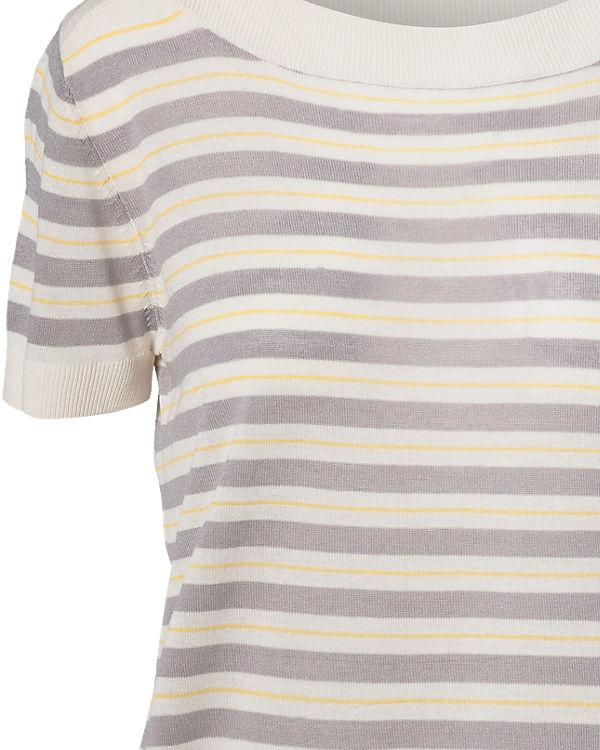 nümph Kurzarmpullover beige/grau