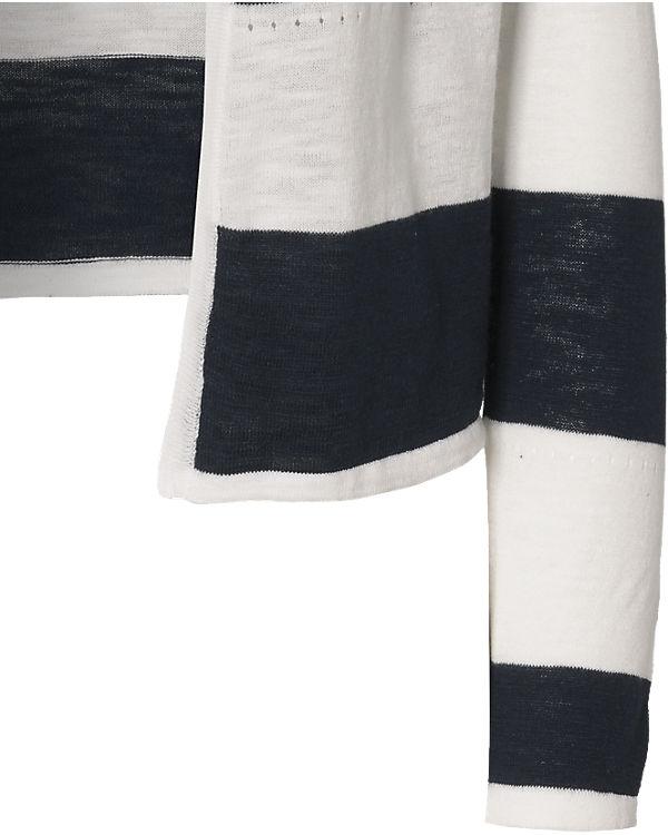 VILA Strickjacke blau/weiß