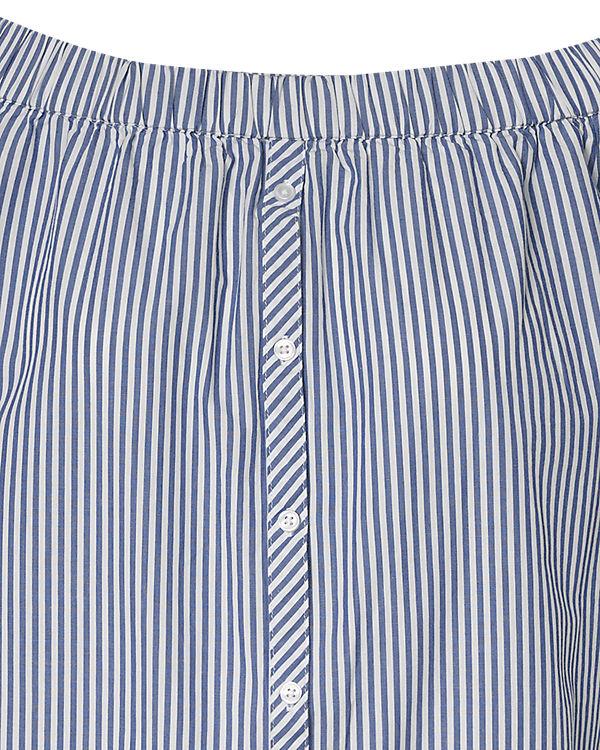 pieces Carmenkleid blau/weiß