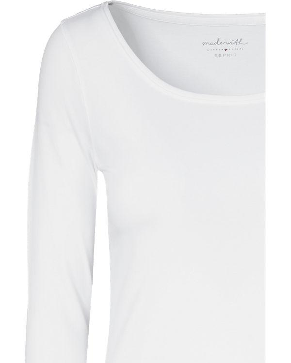 ESPRIT Langarmshirt weiß