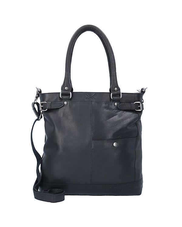 Sansibar Saturnus Shopper Tasche Leder 35 cm schwarz