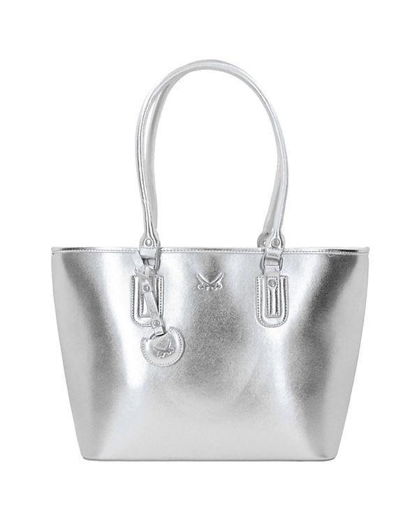 Sansibar Metallic Shopper Tasche 44 cm silber