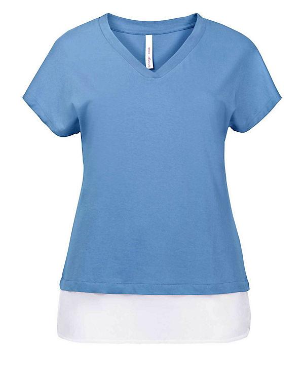 sheego 2 in 1 T-Shirt blau