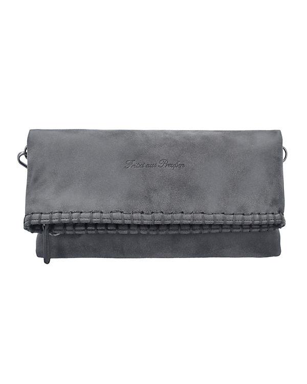 Fritzi aus Preußen Ronja Stit Vintage Clutch Tasche 29 cm grau