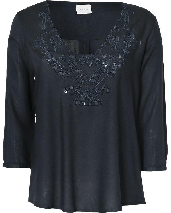 VILA 3/4-Arm-Shirt dunkelblau