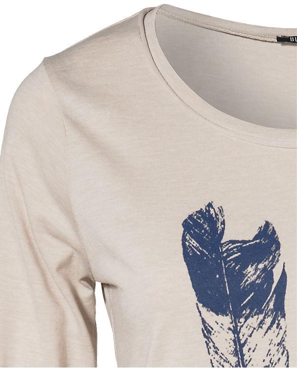 blue Langarmshirt beige