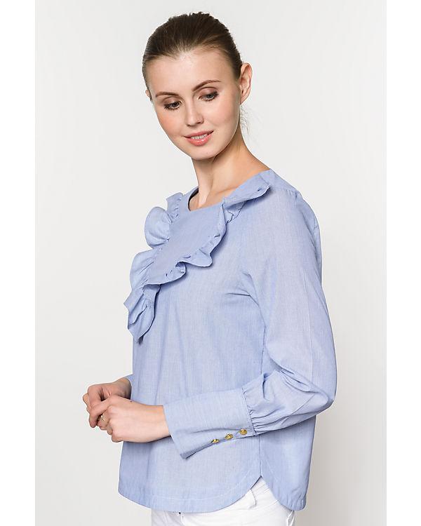 VERO MODA Bluse blau/weiß