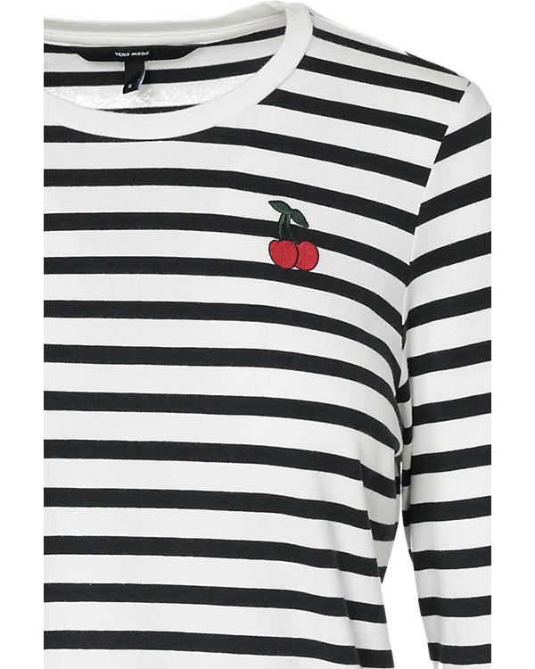 VERO MODA Langarmshirt schwarz/weiß