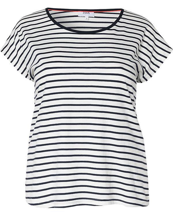 Zizzi T-Shirt blau/weiß
