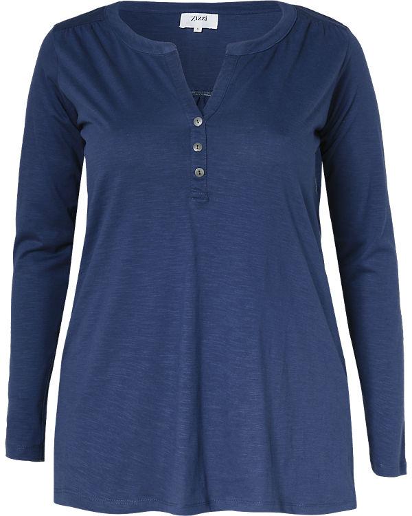 Zizzi Langarmshirt blau