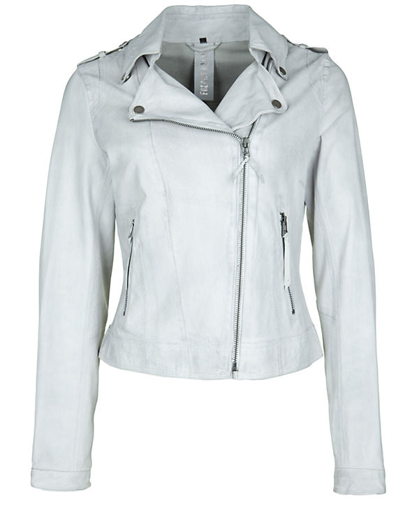 Freaky Nation Lederjacke Blow Away weiß/grau
