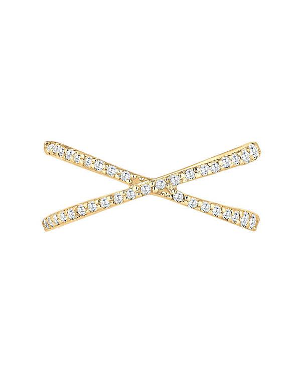 Elli Elli Ring Kreuz Wickelring Zirkonia 925er Sterling Silber gold