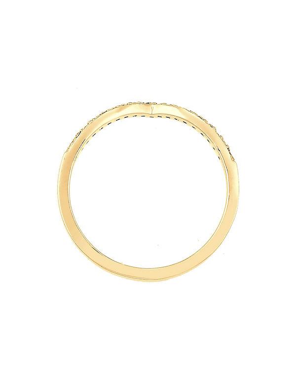 Elli Elli Ring V-Form Geo Swarovski® Kristall 925 Sterling Silber gold