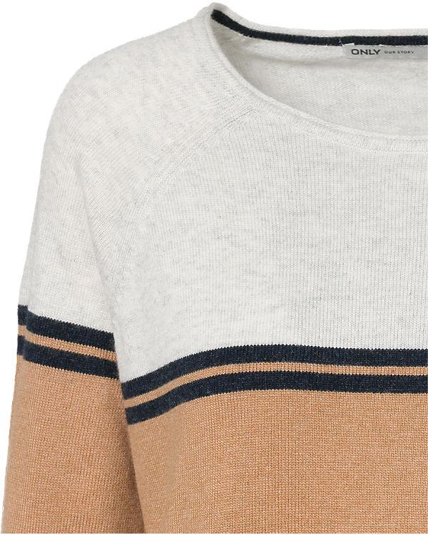 ONLY Pullover braun/weiß