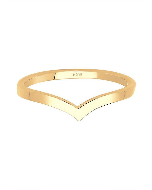 Elli Elli Ring Geo V-Stapelring 925er Sterling gold gold