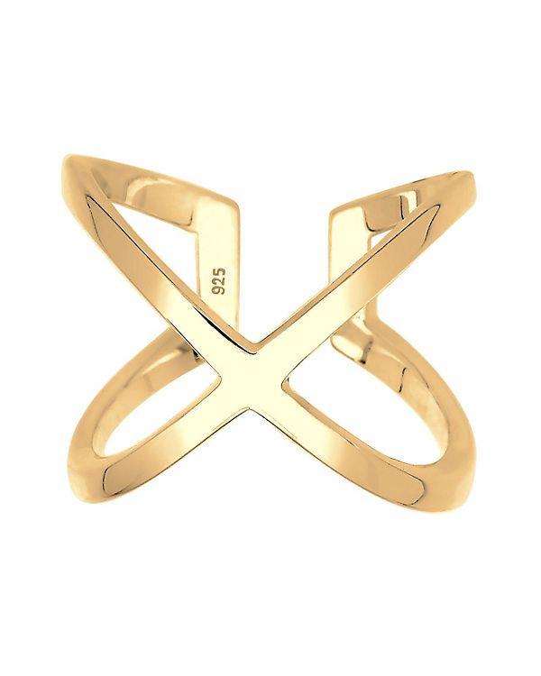 Elli Ring Kreuz Blogger Statement 925 Sterling Silber gold