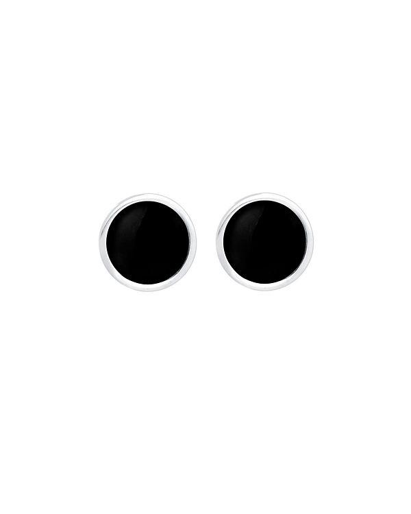 Elli Ohrringe Kreis Rund Basic Emaille 925 Silber schwarz