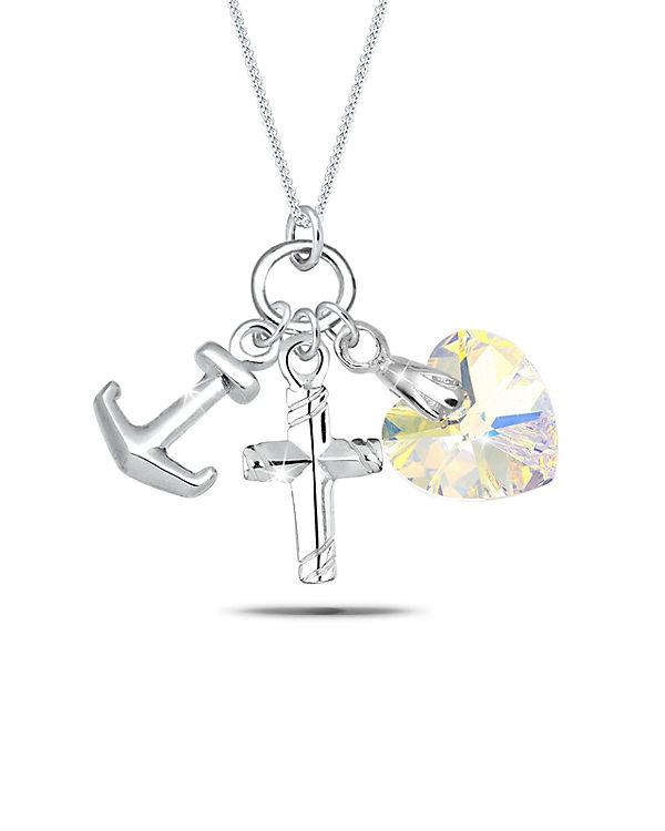 Elli Halskette Anker Herz Swarovski® Kristall 925 Sterling Silber silber