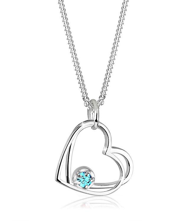 Elli Halskette Herz Swarovski® Kristalle 925 Sterling Silber hellblau