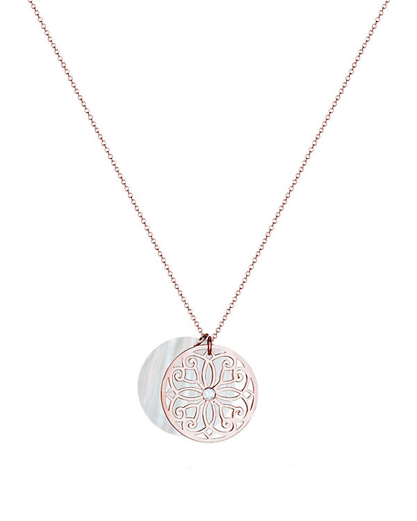Elli PREMIUM Halskette Ornament Perlmutt Topas 925 Sterling Silber rosegold