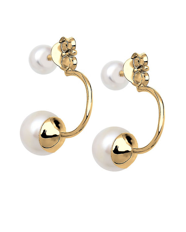 Elli Ohrringe Front-Back Süßwasserzuchtperle 925 Silber gold