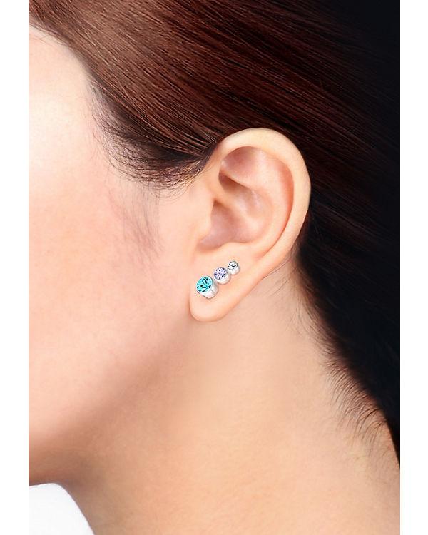 Elli Ohrringe 3er Set Swarovski® Kristalle Basic 925 Silber blau