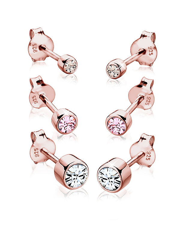 Elli Ohrringe 3er Set Swarovski® Kristalle Basic 925 Silber rosegold