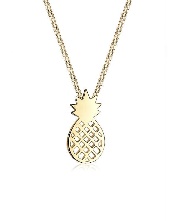 Elli Halskette Ananas Frucht 925 Sterling Silber gold