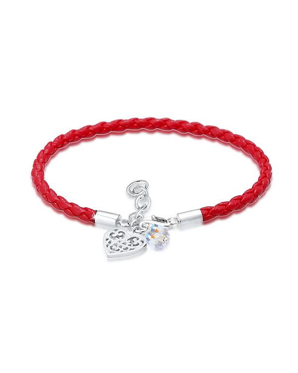 Elli Armband Herz Wiesn Tracht Swarovski® Kristalle 925 Silber rot