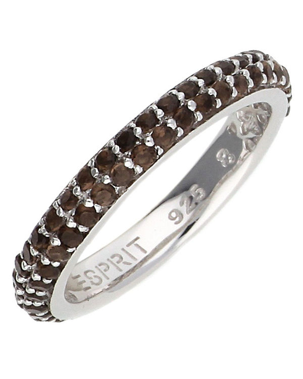 ESPRIT Ring 925 Silber Elegance Smoky ESRG91667D silber