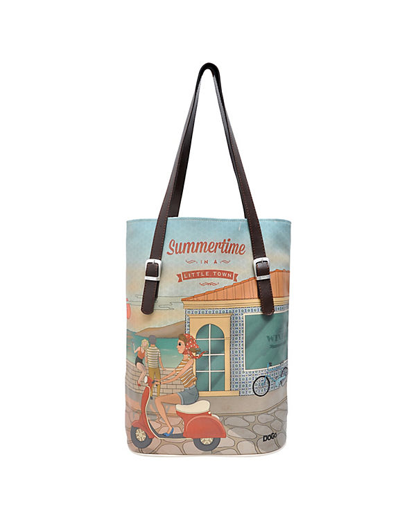 Dogo Shoes Umhängetasche Tall Bag Summer time in a little town bunt