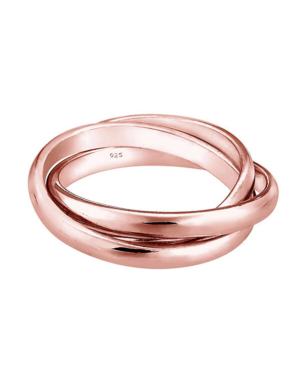 Elli Elli Ring Wickelring Basic Tri-Color 925 Sterling Silber silber/rosa