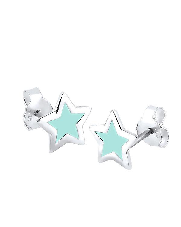 Elli Ohrringe Stern Trend Astro Filigran 925 Silber hellblau