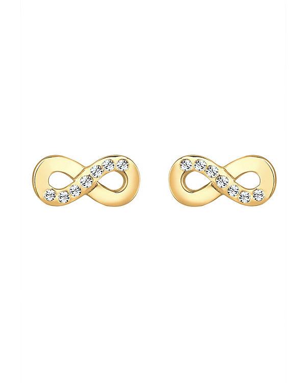 Elli Ohrringe Infinity Symbol Swarovski® Kristalle 925 Silber gold