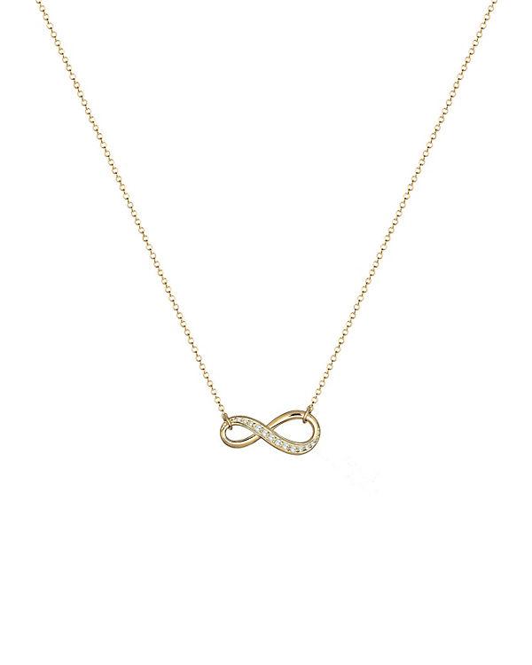 Elli Halskette Infinity Zirkonia 925 Sterling Silber gold