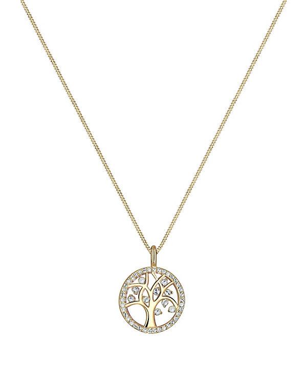 Elli Halskette Lebensbaum Swarovski® Kristalle Sterling Silber gold