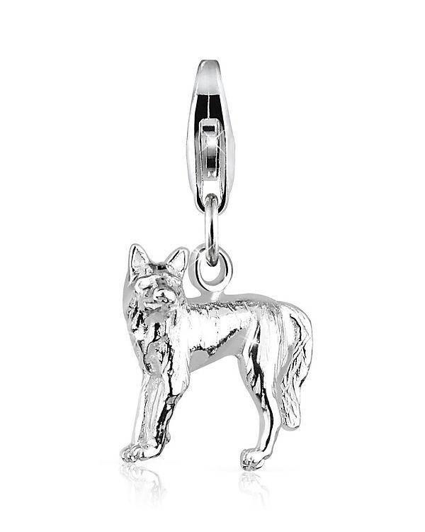 Elli Charm Wolf Tier Natur 925 Sterling Silber Kettenanhänger silber