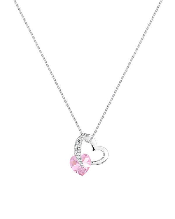 Elli Halskette Herz Love Swarovski® Kristalle 925 Sterling Silber rosa
